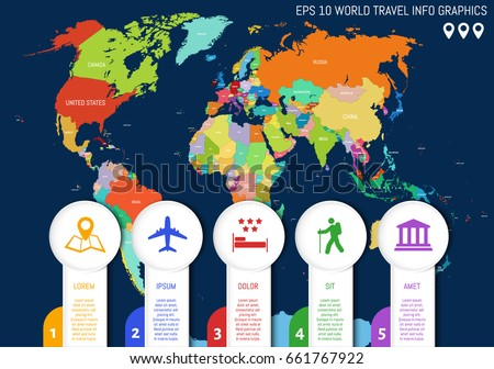 Flat World Map Country Names Divided Stock Vector (Royalty Free ...