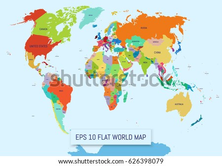 Flat World Map Divided Into Editable Stock Vector (Royalty Free ...