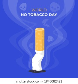 Flat world no tobacco day illustration Vector illustration.