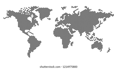 flat world pixel dots map with Atlantic Ocean in the design of points dots of hexagons. Planet Earth background Dotted banner. All the continents of the world in one picture pixel Dotted.