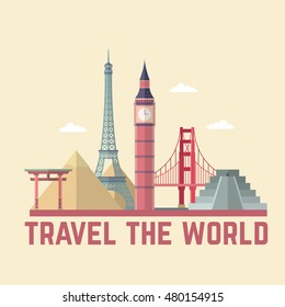 Flat World Tourism Day Background Vector