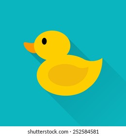 Flat yellow duckling icon with long shadow.
