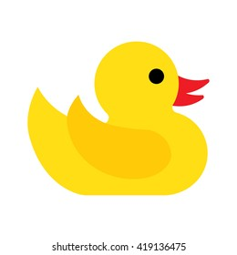 Flat yellow duckling icon on a white background