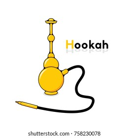 Flat yellow hookah isolated on white background with a space for your text. Shisha logo.