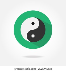 Flat yin yang icon.