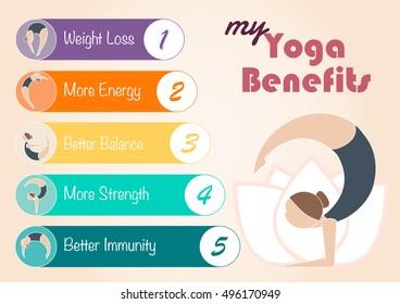 flat yoga top 5 benefits vector infographics