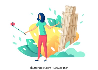 Flat young beauty girl tourist with selfie stick, cellphone on background with tower of pisa. Concept isolated relax woman in trip, journey, summer season. Vector illustration.