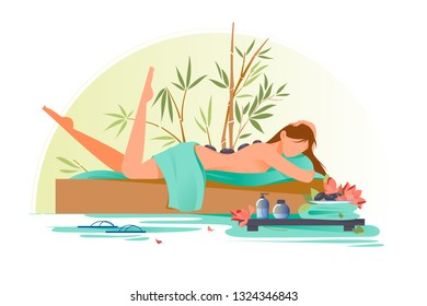 Flat young beauty woman character in spa with stones on back. Concept relax gilr, after massage. Vector illustration.