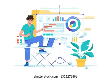 Flat young businessman presentation new data analysis with diagram. Concept man chatacter with laptop, folders, pland and whiteboard. Vector illustration.