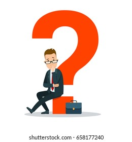 Flat young businessman sitting on huge red question mark vector illustration. Business task concept.