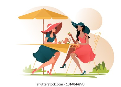 Flat young girl friends in cafe on meeting outdoors. Concept woman characters with umbrella and cup of tea. Vector illustration.