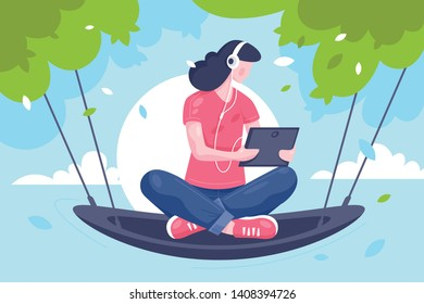 Flat young girl with tablet, headphones at hammock on tree. Concept relax woman character watching at modern technology mobile device. Vector illustration.