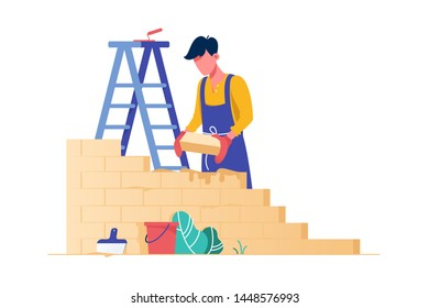 Flat young man bricks stacker with equipment makes wall. Concept isolated professional employee building modern house, hands work. Vector illustration.