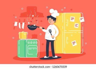 Flat young man cooks, fry in kitchen in professional uniform. Concept food, profession, toque, kitchen interior. Vector illustration.