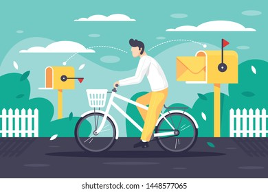 Flat young man deliver mail on bicycle. Concept male employee character on classic postman vehicle in urban street with yellow mailbox at work. Vector illustration.