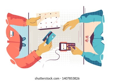 Flat young man employee calculates cost of purchase. Concept customer and businessman characters with card and modern payment terminal device. Vector illustration.