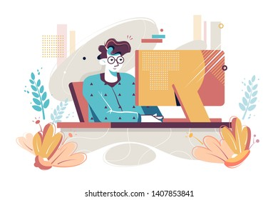 Flat young man with home clothes and glasses at computer. Concept morning relax businessman character with pajamas, sleepwear at house workplace. Vector illustration.