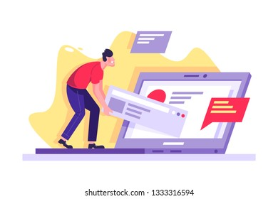 Flat young man with laptop working on site drag the result of work. Concept freelance character employee, social online chat, debug. Vector illustration.
