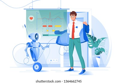 Flat young man on robot diagnostics with heart rate chart. Concept character with modern device, health care technology. Vector illustration.