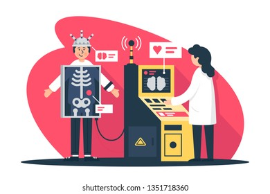 Flat young man with radiologist doctor with x-ray scanner at diagnostic. Concept girl with patient characters, health care, relationship. Vector illustration.
