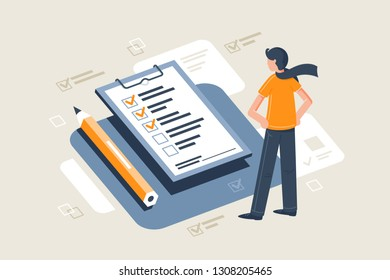 Flat young man with scarf in front table with pencil and check sheet. Concept successful businessman with completed tasks and future business. Vector illustration.