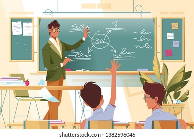 Flat young man teacher with glasses at work with schoolboys in school lesson. Concept businessman and boy characters with plant and desks, students schooling. Vector illustration.