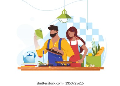 Flat young man and woman couple cooks together. Concept wife and husband characters at kitchen, healthy food. Vector illustration.