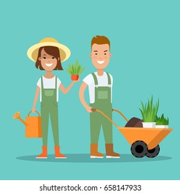 Flat Young man and woman holding plant carrying cart vector illustration. Gardening concept.