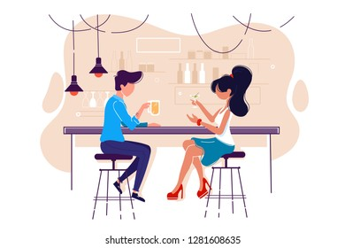 Flat young man and woman on date with drink in bar. Concept meeting with girl in cafe, communication and relationship. Vector illustration.