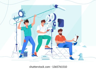 Flat young men with beard and movies shooting equipment. Concept businessman characters with camera, microphone, spotlight, employee relationship. Vector illustration.