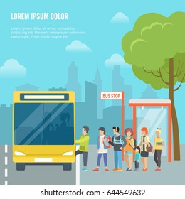 Flat young people entering bus on city landscape background vector illustration. Street traffic concept.