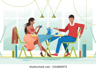 Flat young romantic couple in cafe on date. Concept man and woman characters with purchases and cup of tea. Vector illustration.