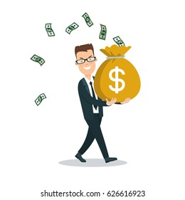 Flat young smiley businessman carrying full money bag, banknotes flying around vector illustration. Business investments concept.