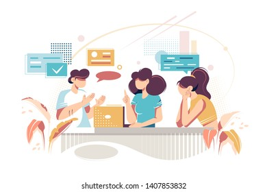 Flat young woman friends makes opinion exchange. Concept businesswoman and girl characters at workplace and meeting with speak clouds, employee relationship. Vector illustration.