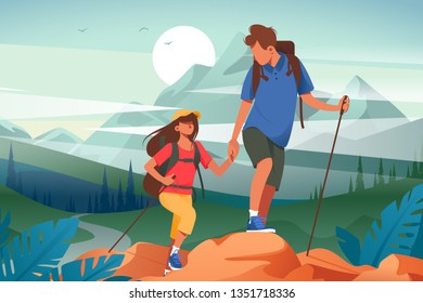 Flat young woman and man couple hiking in mountains. Concept friend characters with equipment in journey on forest and river background. Vector illustration.