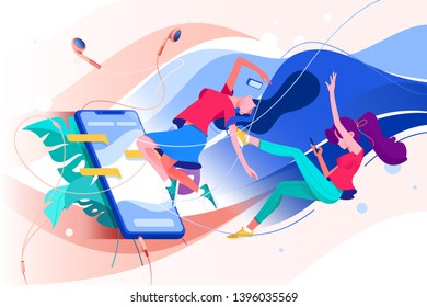 Flat young woman with mobile phone and headphones watching online stream with chat. Concept relax girl friends characters with media web service for broadcast. Vector illustration.
