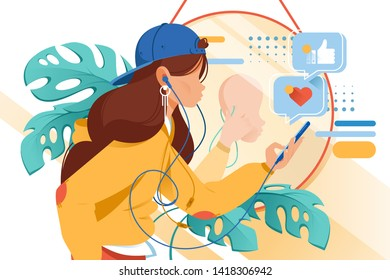 Flat young woman with mobile phone and earphones in virtual reality. Concept girl style character with fake face mask in online, abstract web relationship. Vector illustration.