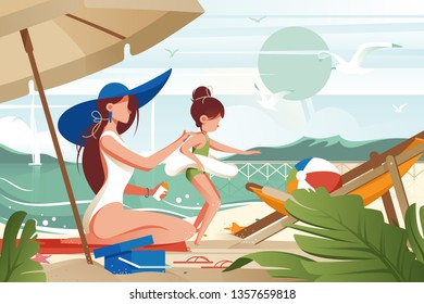 Flat young woman mother with hat smears sunblock on her daughter s back. Concept girl characters, family in journey on beach near sea. Vector illustration.