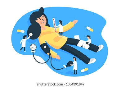 Flat young woman patient with little man doctors. Concept isolated characters with pills, thermometer, tonometer, health diagnosis. Vector illustration.