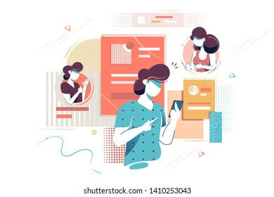 Flat young woman silhouette with mobile phone for contacts with people. Concept isolated girl characters relationship with friends and books. Vector illustration.