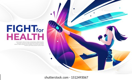 A flat-art illustration of a female kick boxer in the gym in vector. Morning exercise. Sport or fitness theme.