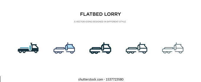 flatbed lorry icon in different style vector illustration. two colored and black flatbed lorry vector icons designed in filled, outline, line and stroke style can be used for web, mobile, ui