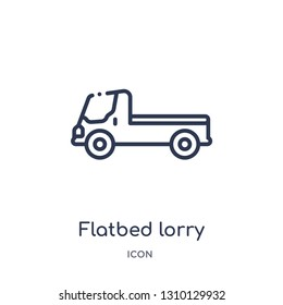 flatbed lorry icon from transportation outline collection. Thin line flatbed lorry icon isolated on white background.