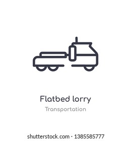 flatbed lorry outline icon. isolated line vector illustration from transportation collection. editable thin stroke flatbed lorry icon on white background