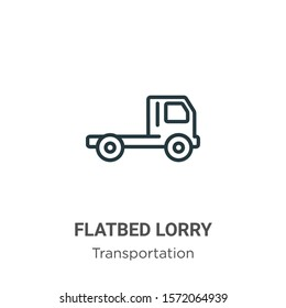 Flatbed lorry outline vector icon. Thin line black flatbed lorry icon, flat vector simple element illustration from editable transportation concept isolated on white background