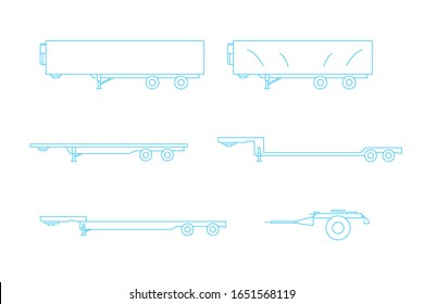 flatbed set. truck and trailer equipment. line icon logistic cargo. vector illustration