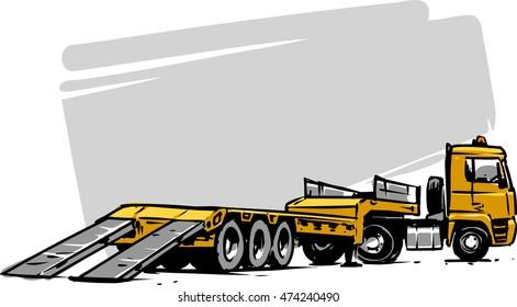 flatbed trailer truck. Hand drawn illustration