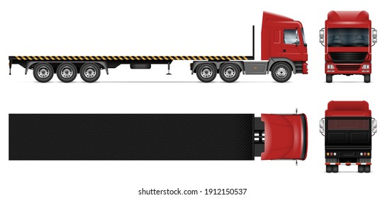 Flatbed trailer truck vector mockup on white for vehicle branding, corporate identity. View from side, front, back, top. All elements in the groups on separate layers for easy editing and recolor
