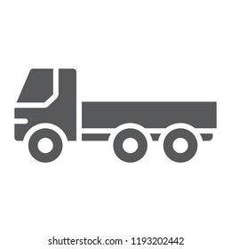 Flatbed truck glyph icon, automobile and cargo, car sign, vector graphics, a solid pattern on a white background, eps 10.