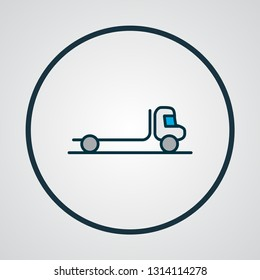Flatbed truck icon colored line symbol. Premium quality isolated delivery element in trendy style.